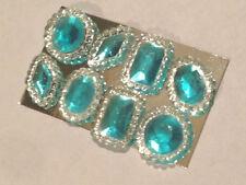 Pack of 8 Edible Sugar Cake Cupcake Jewels Brooch Diamond Decoration AQUA BLUE