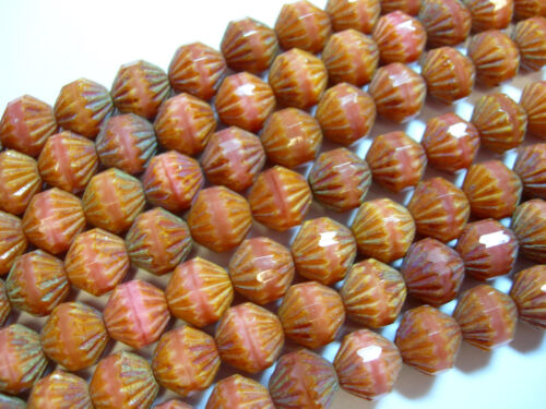 25 9mm Czech Glass Coral Pink Picasso Fluted Bicone Beads