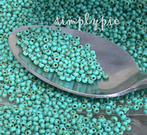11-0-Czech-Turquoise-Picasso-Glass-Seed-Beads-10-Grams-TINY-Glass-Beads