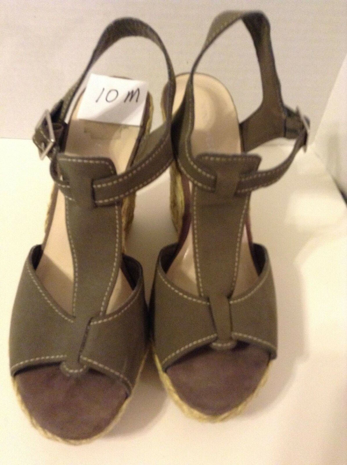 Nine West Women's Wedge 10 Medium Olive B Olive Medium Green Solid Suede High (3 in) Shoe 166c87