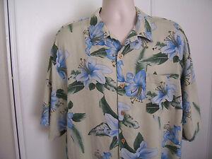 f257366c0d498 BERMUDA BAY Men s Hawaiian Shirt 100% Silk Blue Floral Short Sleeve ...
