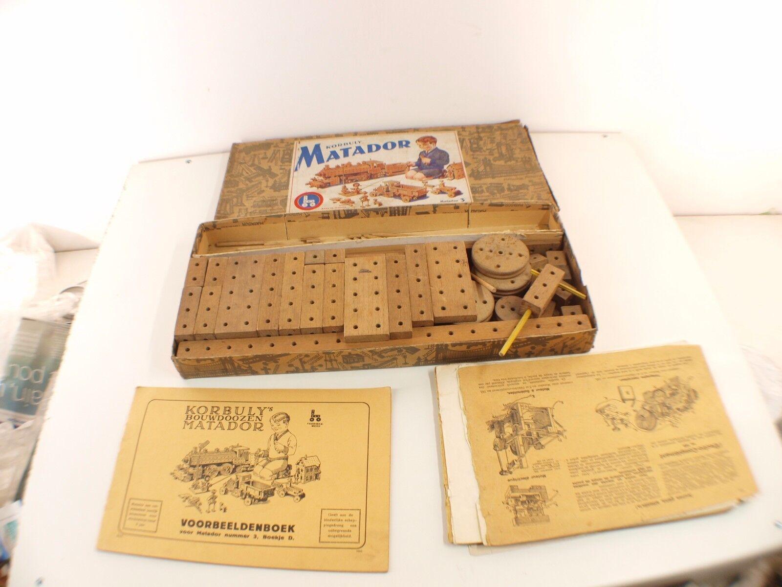 KORBULY Austria Matador Matador Matador Boite 3 Construction bois avec notices RARE 575aa1