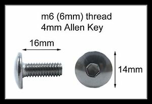 YAMAHA  MOTORCYCLE M6 ALLEN STAINLESS DOME FAIRING BOLT SCREW CHOOSE YOUR SIZE