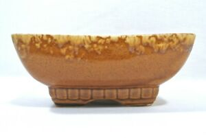 Vintage-MCM-McCoy-Pottery-Brown-Drip-Glaze-Planter-Succulent-Flower-404-7-034-USA