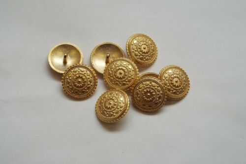 10pc 13mm Matt Gold Turkish Inspired Metal Coat Cardigan Knitwear Button 3354