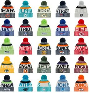 Details about NEW ERA 2017-18 SPORT KNIT NFL Onfield Sideline Beanie Winter  Pom Knit Cap Hat 676b958ed14