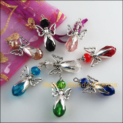 8Pcs Mixed Crystal Angel Wings Tibetan Silver Tone Charms Pendants 18x34mm