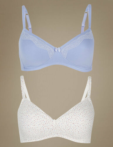 MARKS /& SPENCER M/&S 2 PACK PADDED NON-WIRED T-SHIRT BRAS 30 32 36 38 AA B C D #
