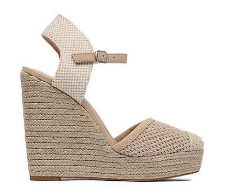 Women's shoes Lucky Brand REANDRA Wedge Espadrille Sandals Platforms Natural