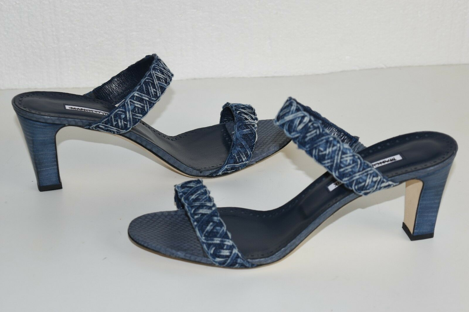 785 NEW Manolo Manolo Manolo Blahnik GERAS Denim SNAKE Slide Sandal Navy Block Heels shoes 41 15cd45