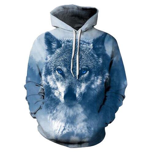 2019 Funny Anime Wolf Women Men 3D Print Hoodies Pullover Sweatshirts Tops