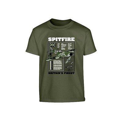 Bambini Spitfire Aereo Militare T-shirt Nero E Verde 100% Cotone Altamente Lucido