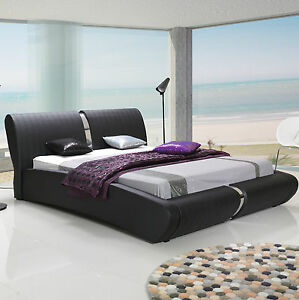 polsterbett kunstlederbett peru mit bettkasten und lattenrost 140 160 180x200 cm ebay. Black Bedroom Furniture Sets. Home Design Ideas