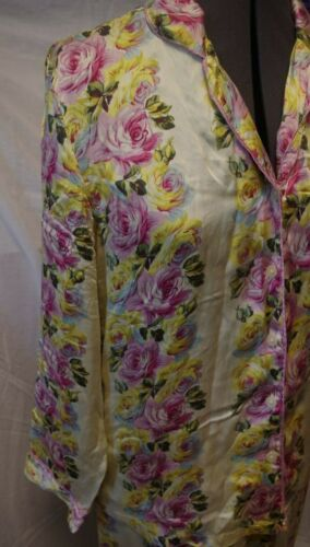 Nick & Nora Yellow Pink Roses Floral Print Silk Pa