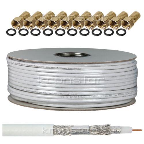 25m 130dB 4-Fach Koaxialkabel DIGITAL Antennenkabel SAT TV Kabel 4K UHD SKY 3D