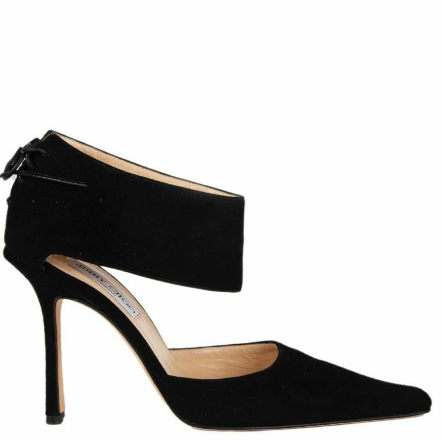 58091 auth JIMY CHOO nero suede Ankle Strap Pointed Toe  Pumps scarpe 40  Ultimo 2018