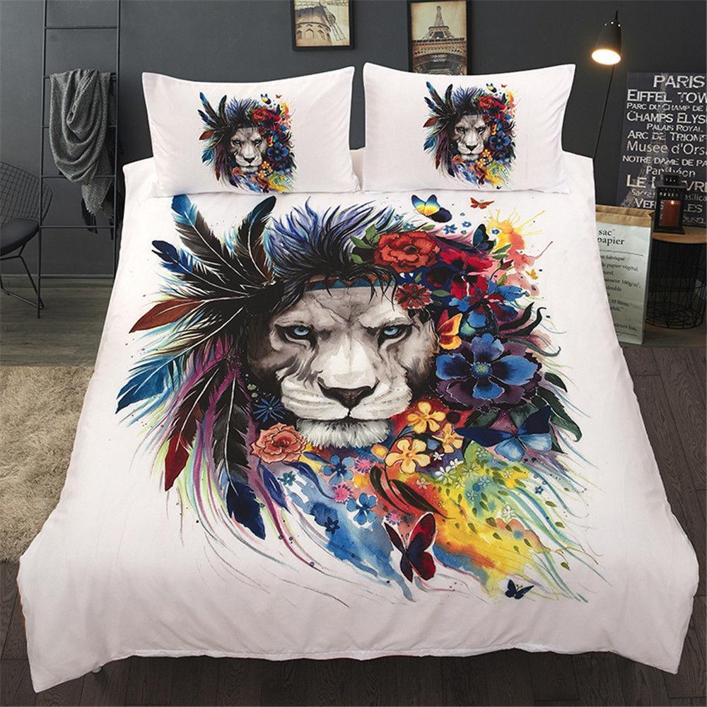3D Flower Tiger Comforter Duvet Cover Bedding Set Quilt Cover Pillowcases White