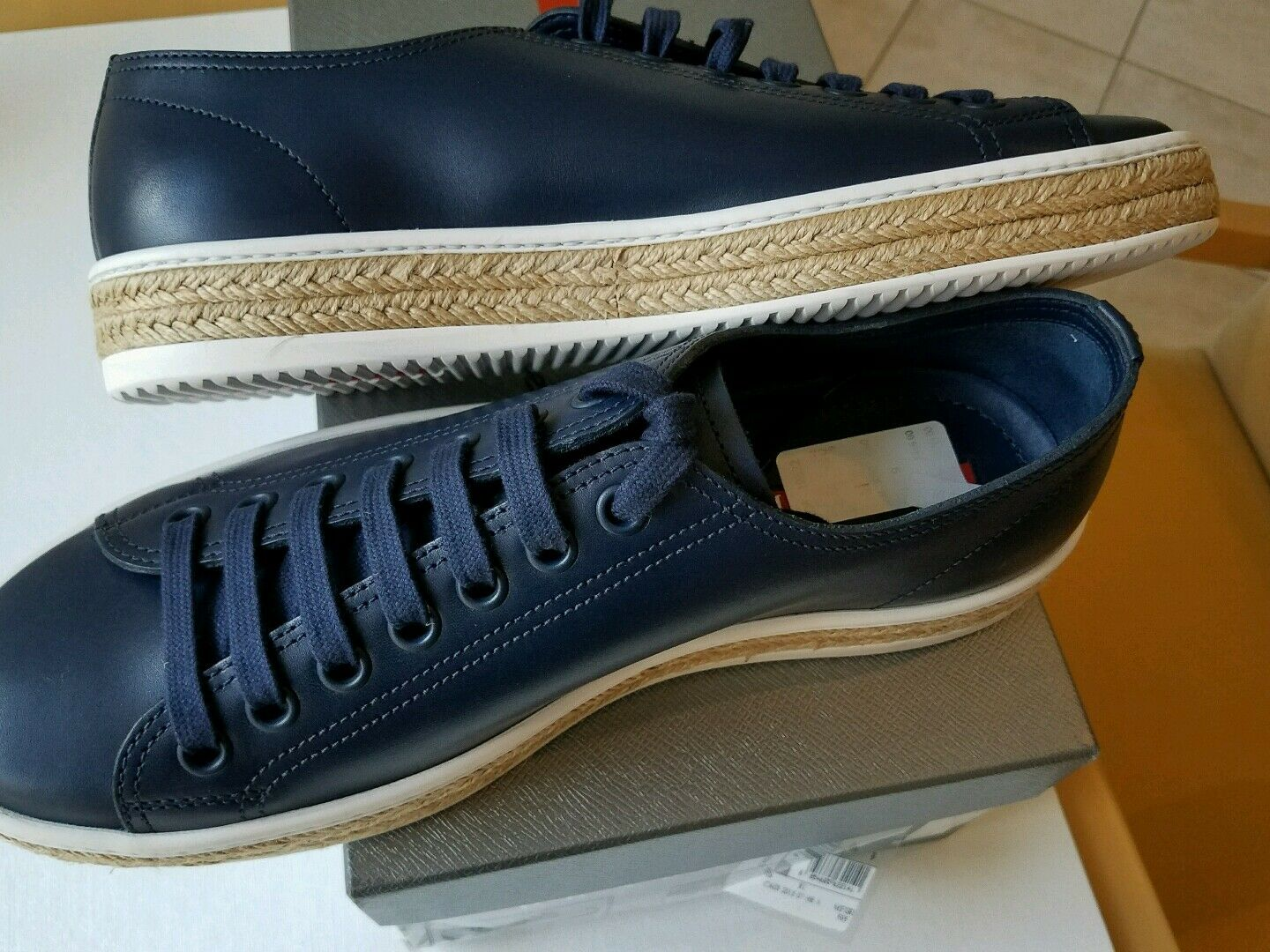 NEW PRADA MEN'S NAVY LEATHER ESPADRILLE SNEAKER TRAINER SHOE  US 10 PRADA 9