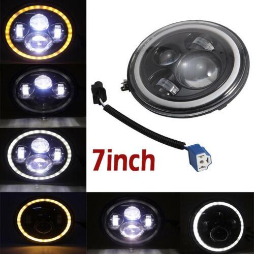 "7/"" Black Round LED Headlight White Halo Angel Eye For Jeep Wrangler JK TJ LJ CJ"