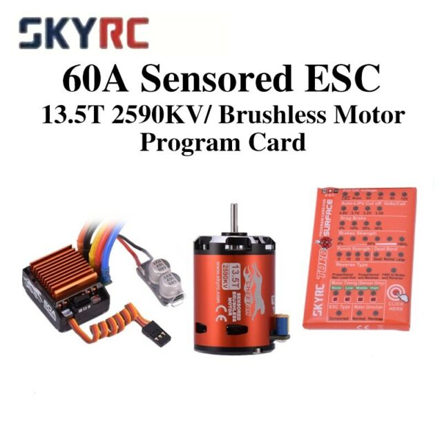Cheetah 2590KV 13.5T Sensored Brushless Motor 60A ESC for 1//10 RC Car Truck