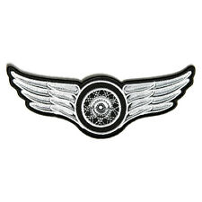 Embroidered Winged Wheel White Iron on Sew on Biker Patch Badge