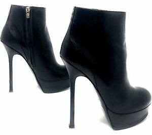 60c7a2c5cd Details about YSL Black Leather Fur Winter Boots Booties 40 Euro 8.5 US  100% Authentic