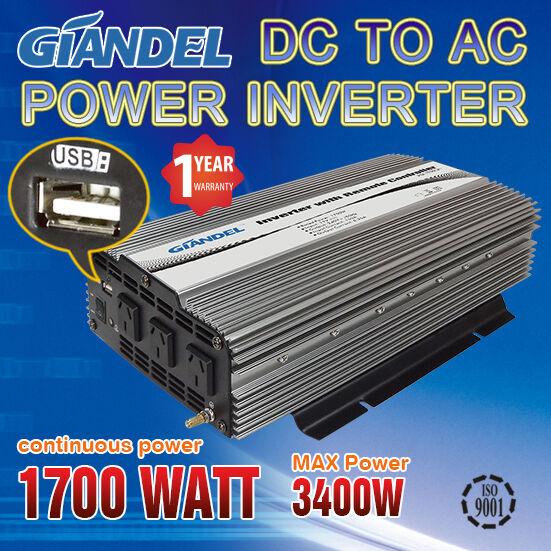 Power Inverter 1700W 24V DC to 240V AC Car Converter with USB