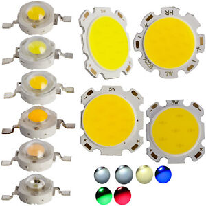 10x-50x-1W-3W-5W-7W-Led-SMD-Mais-Puce-Puissant-Perles-Clair-Chaud-Blanc-Froid
