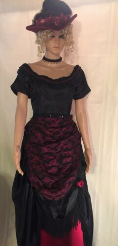 Victorian Black & Burgundy Western Bustle Dress Si