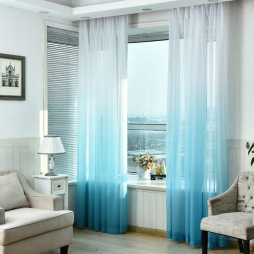 Gradient Color 3D Printed Single Panel Divider Sheer Voile Curtain Tulle