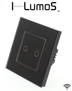 I LumoS Black Glass Frame Wirefree Battery Operated RF Light Switches & Receiver