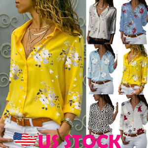 Womens-Floral-V-neck-Long-Sleeve-Button-Shirt-Blouse-Ladies-OL-Basic-Tee-Tops-US