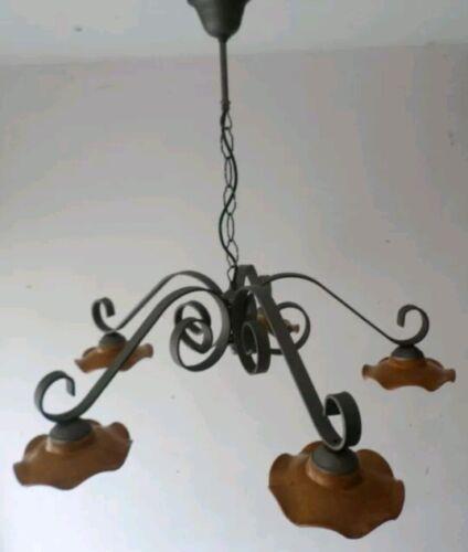 Lampadario in ferro battuto 5 luci in Terracotta Rustico Country rustici