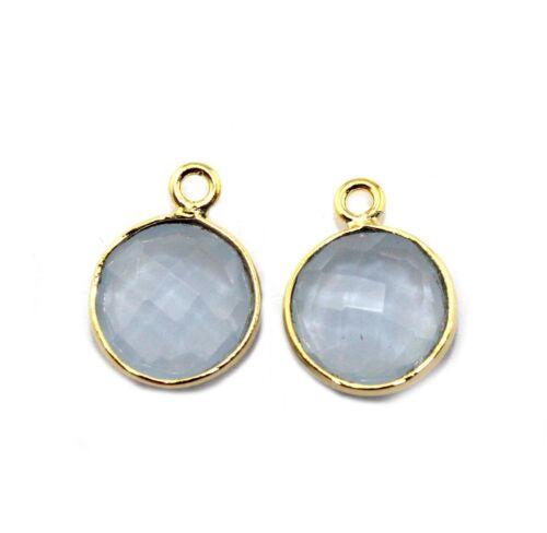 AGATE CALCÉDOINE quartz onyx 24k Plaqué or lunette Connecteur Bijoux 2 Pc Set