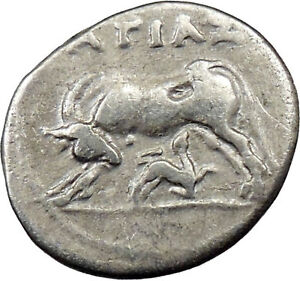 ILLYRIA-APOLLONIA-Ancient-Silver-Greek-Coin-Cow-amp-calf-fertility-symbol-i29470