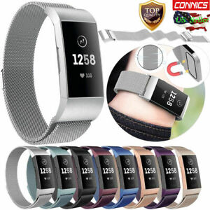 Details about Replacement For Fitbit Charge 3 Milanese Band Metal Stainless  Steel Magnet Strap