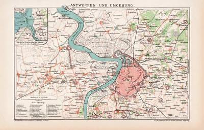 Antwerpen & Umgebung Stadtplan Lithographie 1898 Historische Antike /158 Starke Verpackung