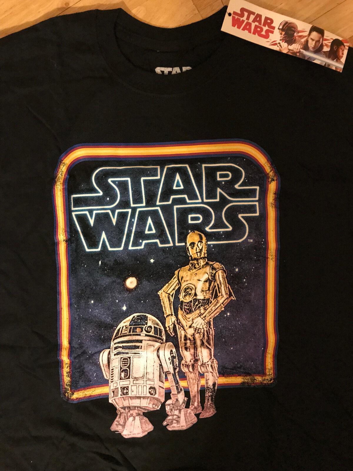 BNWT Star R2D2 Wars T-Shirt Retro R2D2 Star C3PO Taille Moyenne Disney Geek Nerd cf3a23