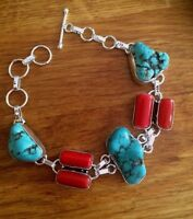 Chunky Turquoise And Coral Bracelet Silver Handmade Design Tribal Jewelry Gift