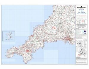 *BRAND NEW* LAMINATED POSTCODE WALL MAP OF CORNWALL SCILLY ISLES ENGLAND UK ¸ S1