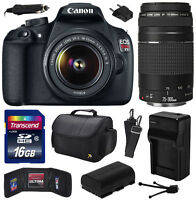 Canon Eos Rebel T5 1200d Dslr W/ 18-55mm + 75-300mm Iii Lens (16gb Value Bundle)