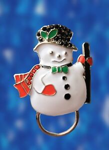 NEW-Christmas-Rhinestone-Snowman-Glasses-Spectacle-Hanger-Brooch-Pin-Holder