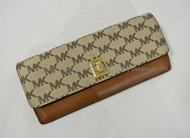 a62a1f20e4e NWT Michael Kors Natalie Heritage Signature Logo Turn-Lock Wallet Luggage  Brown