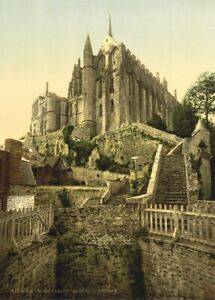 Mont-Saint-Michael-Abbey-Normandy-1890-039-s-Vintage-French-Photography-Poster