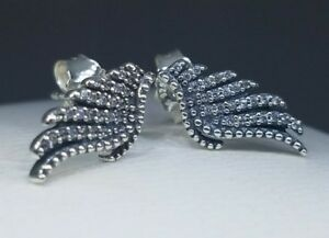2699c3045 Image is loading Authentic-Pandora-925-Silver-Majestic-Feathers-Stud- Earrings-
