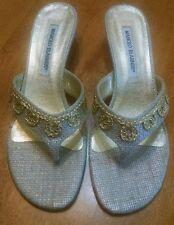 Manolo Blahnik Silver Fabric Kitten Heel Thong Sandal, NEW 37, $565