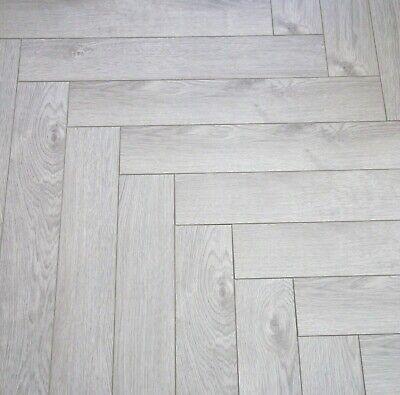 Vivant Herringbone 12mm Light Grey Oak, Laminate Wood Flooring Light Grey