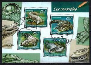 Centroafricana-2014-Tipo-cocodrilo-Yvert-n-3182-a-3185-matasellado