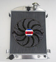 Aluminum Radiator For 1932 Ford Hi-boy Ford Engine 3row+14fan