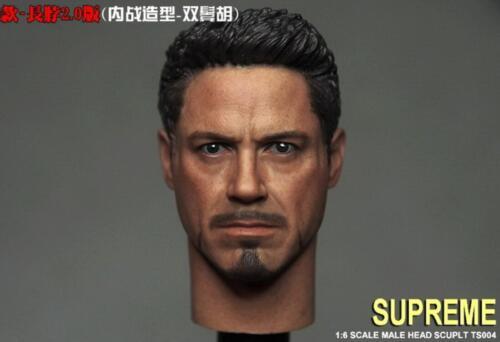 "1//6 Iron Man Tony Stark Head Sculpt For 12/"" Hot Toys Male Figure Coomodel ❶USA❶"